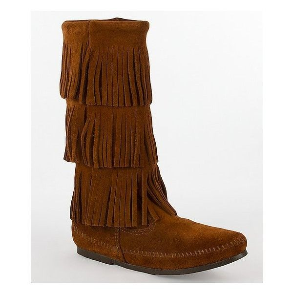 Minnetonka Triple Fringe Moccasin Boot featuring polyvore, women's fashion, shoes, boots, brown, suede leather shoes, fringe moccasins, tall moccasins, brown moccasins and mocassin shoes