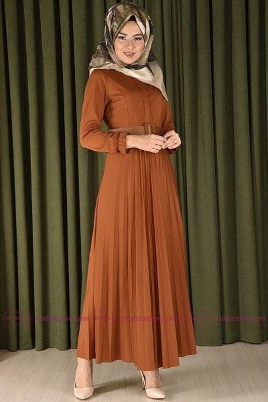 Yeni Urunler Kemerli Piliseli Elbise Hardal Eng 3542 1 Moda Stilleri Elbise Moda