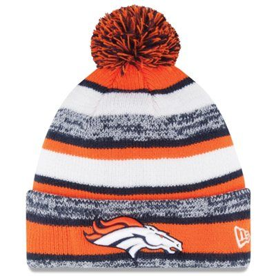 Warm up with this Mens Denver Broncos New Era Orange On-Field Sport Sideline Cuffed Knit Hat