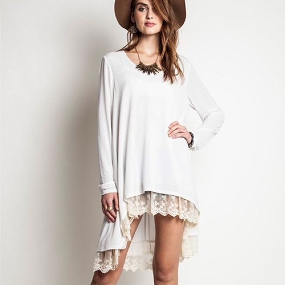 """X """"Fern Hill"""" Lace Hem Tunic Top Ivory tunic top with a gorgeous lace hem. True to size. Brand new. NO TRADES. Bare Anthology Tops Tees - Long Sleeve"""