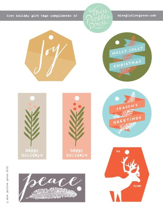 free holiday gift tag printables via miss pickles press