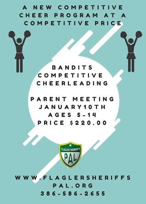 New program $220.00 competitive cheer, come to meeting and see if it works for your family. Off season from regular football cheer. Questions call us 386-586-2655