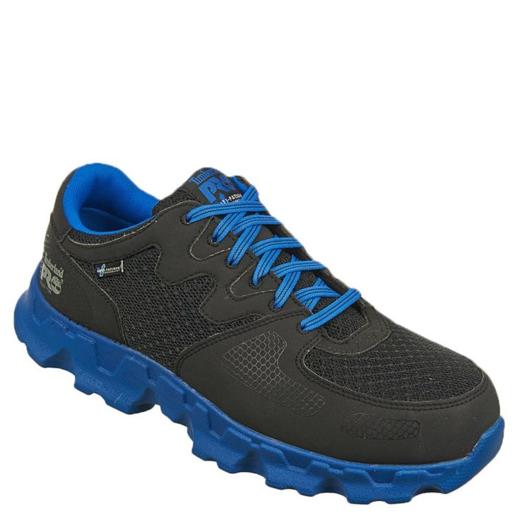 Timberland Pro Men's Powertrain Alloy Safety Toe Work Shoes (Black/Blue Microfibe) - 15.0 M