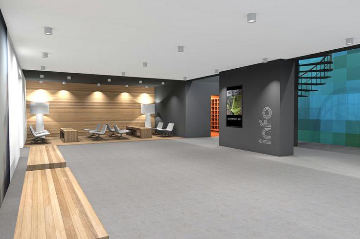 3d rendering, interior, renovated office, ground floor, lobby by Vormkracht 9