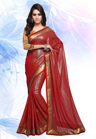 The amazing contrasting Patch Border work on this Faux Georgette Shimmer Saree in Red looks so very elegant. It also comes along with an Art Silk blouse in Golden.