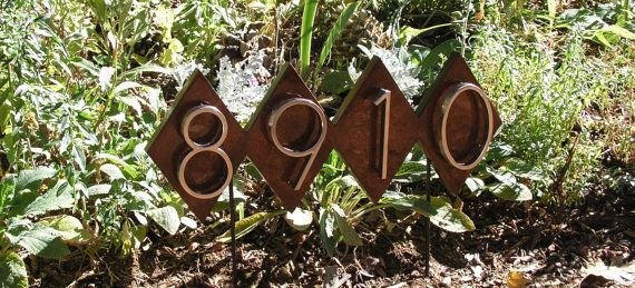 Dimond Lawn House Numbers Plaque. Mid Century Address Sign, Free Shipping, Very High Quality, Solid Mahogany with Yacht Gloss Finish.