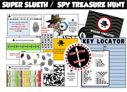 Printable Secret Agent / Spy party treasure hunt.  I love this because it comes with everything you need to set up the hunt, even decoder wheels.  Plus, you can hide the clues anywhere and the hunt will still lead from one clue to the next.