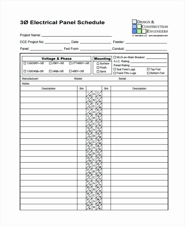 Electrical Panel Schedule Template Excel Fresh Electrical Panel Schedule Template Software Schedule Templates Schedule Template Circuit Breaker Panel