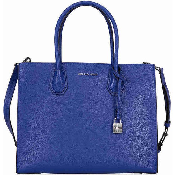Michael Kors Mercer Large Bonded Leather Tote - Electric Blue ($228) ❤ liked on Polyvore featuring bags, handbags, tote bags, blue purse, michael kors purses, handbags totes, royal blue purse and tote handbags
