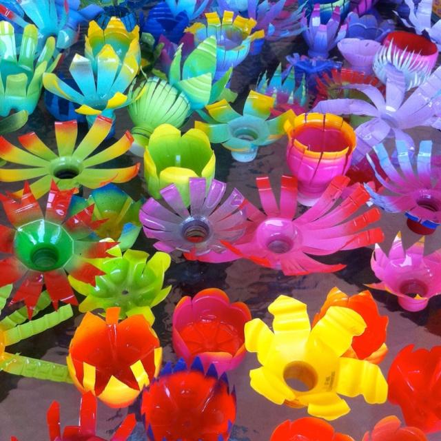 Art! Water bottle flowers.                                                                                                                                                      More