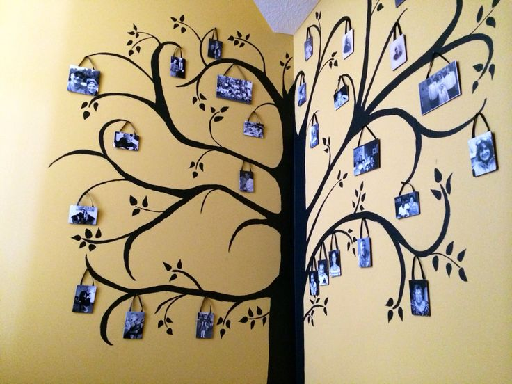 Family tree wall mural, wrapping a corner.