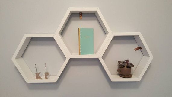 Custom Hexigon Honeycomb Shelf available in yoru choice of stain or paint colour PortWoodWrks on Etsy