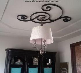 pottery barn wall art turned ceiling medallion, dining room ideas, wall decor