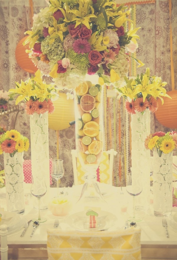 lilly-pulitzer-inspired-party tall centerpiece inspiration, lilly pulitzer centerpiece, citrus centerpiece