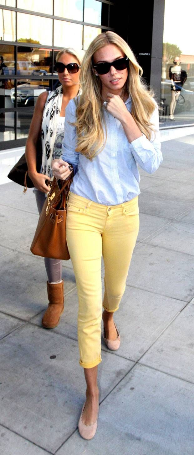 Yellow and chambray. I have a similar top and pant. Great styling idea :)