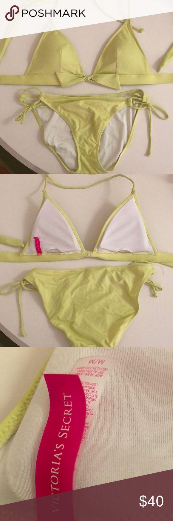 VS bikini set Light lime green halter bikini top and string tie bottoms. Worn a couple of times. Victoria's Secret Swim Bikinis