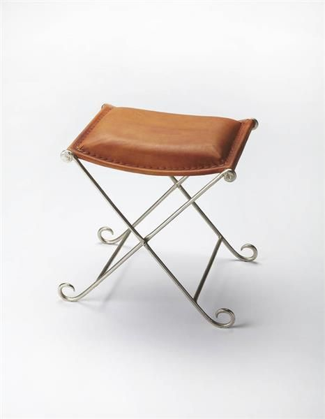 Industrial Chic Transitional Iron Leather Stool