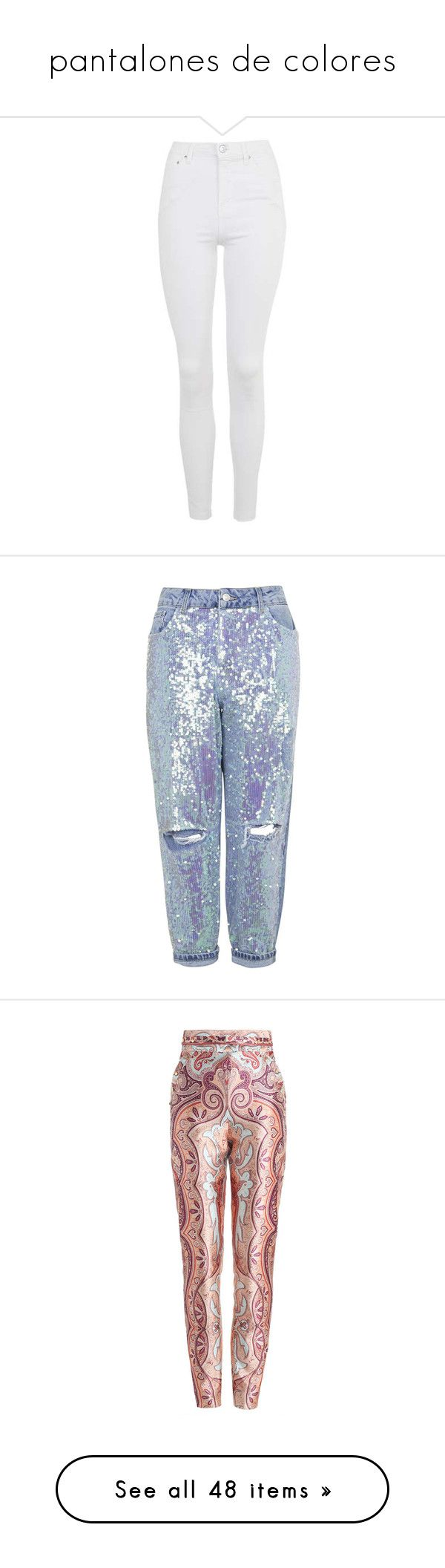 """""""pantalones de colores"""" by allofmeallofme on Polyvore featuring jeans, pants, bottoms, calça, topshop, high rise jeans, white skinny leg jeans, raw hem skinny jeans, rock and roll jeans y high-waisted skinny jeans"""