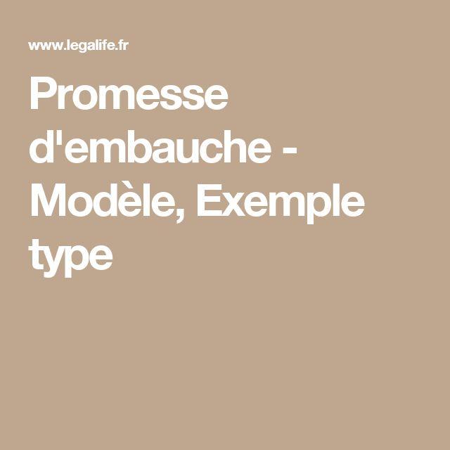 Promesse d'embauche - Modèle, Exemple type   Travail   Embauche, Promesse et Exemple