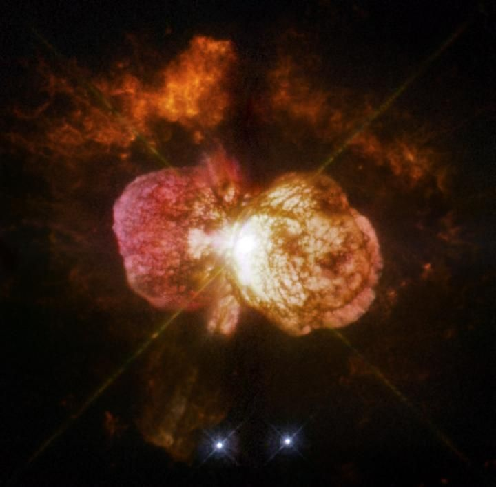 Eta Carinae, the most luminous and massive stellar system within 10,000 light-years, is best known for an enormous eruption seen in the mid-19th century that hurled at least 10 times the sun's mass into space.  A study using archival data from NASA's Spitzer and Hubble space telescopes has found five objects with similar properties in other galaxies for the first time.