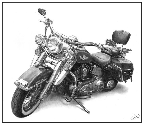 Harley Davidson Heritage Softail by NicksPencilArt.deviantart.com on @deviantART