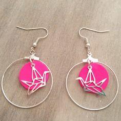 Boucles d'oreilles ring cocottes rose fluo et argent