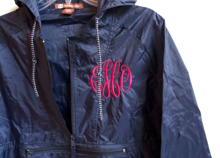 Monogrammed Rain Jacket. $40.00, via Etsy.