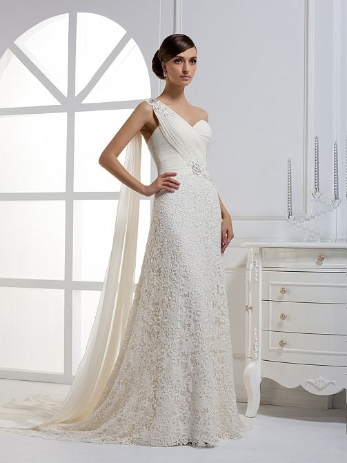 2012 Fall One Shoulder Chiffon bridal gown.... Love it.... Already married. But there was no pinterest then!