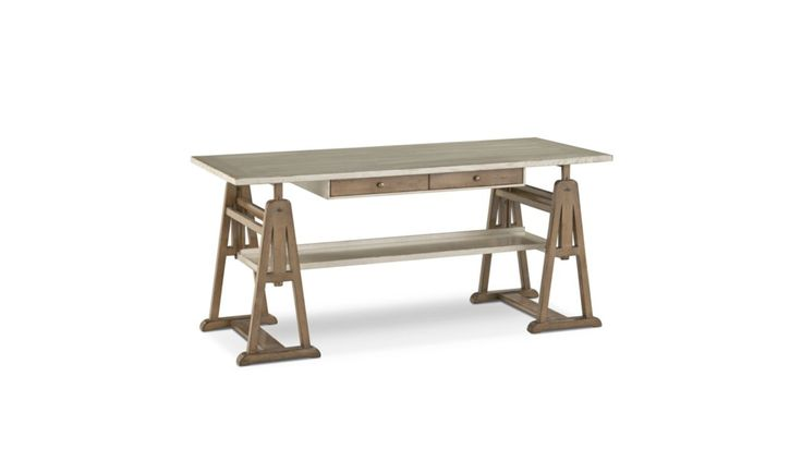 Top and tray: solid oak and veneer on plywood. Trestles in beech, adjustable height. Block of drawers: beech veneer, antique patina, hand-waxed