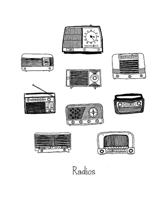 pen and ink drawing Vintage Radios by jodiburton on Etsy, $20.00