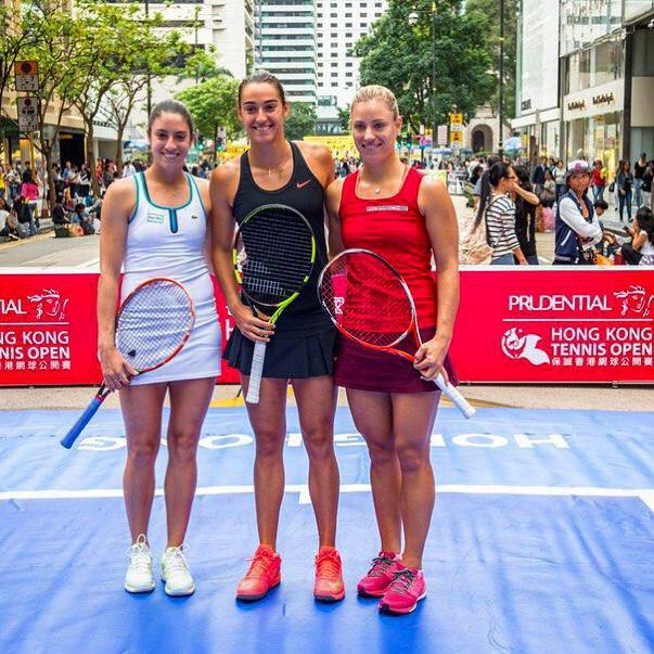 Christina McHale, Caroline Garcia & Angelique Kerber played mini-tennis in the streets of Hong Kong! #WTA