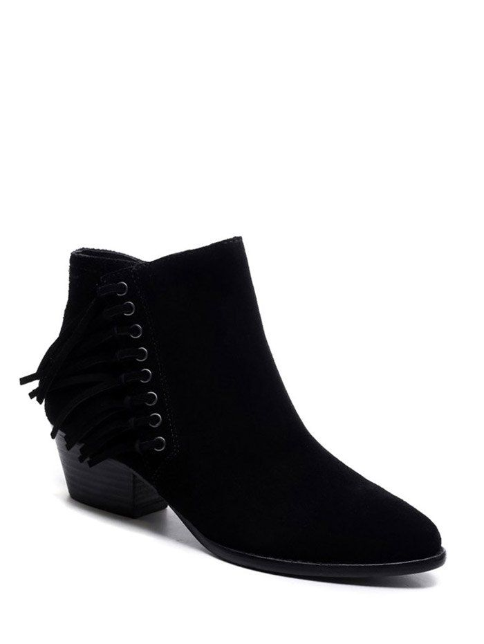 Chunky Heel Eyelet Fringe Ankle Boots #women, #men, #hats, #watches, #belts, #fashion, #style