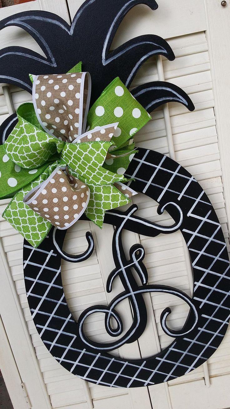 Pineapple Monogram Door Hanger Summer Pineapple Decor Monogram Pineapple Welcome Decor Pineapple Door Hanger Monogram Wedding Gift Double Door Hangers Mother's Day Gift Birthday Welcome Wreath