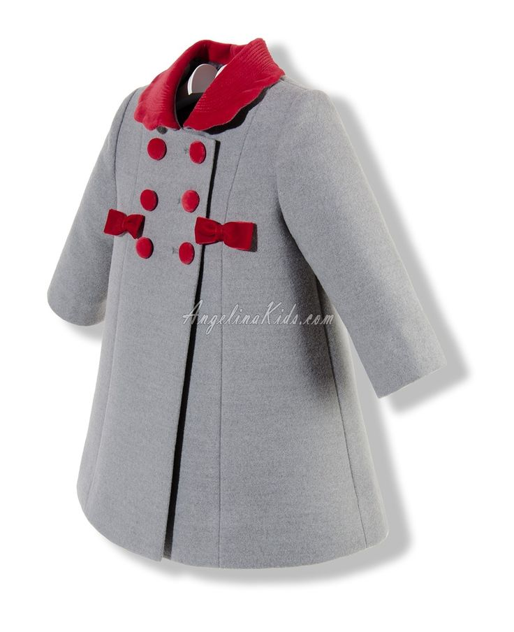abrigos niña | Abrigo para niña gris y rojo