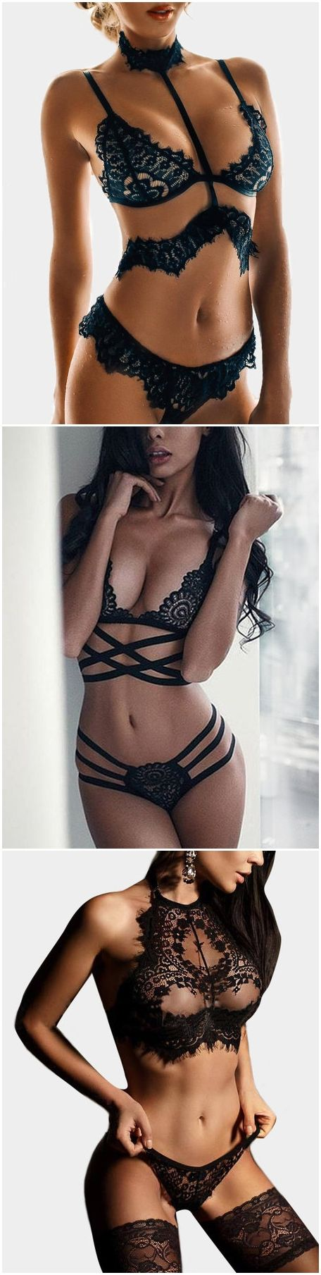 Black Sweet Embellished Lace Intimates Set only for him....no sneak peak..wtf