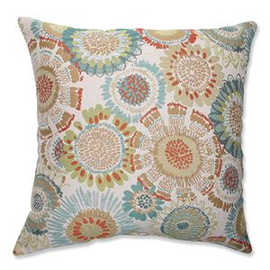 Maggie Mae Aqua Multi Colored 16.5 Inch Square Throw Pillow Pillow Perfect Accent Pillows