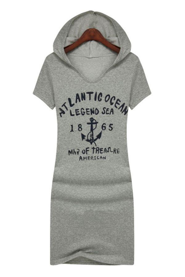 Leisure Letters Print Hooded Dress - OASAP.com