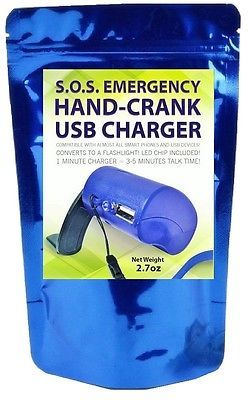 Emergency Power USB Hand Crank SOS Phone Charger Camping Bank Survival Kit Gear