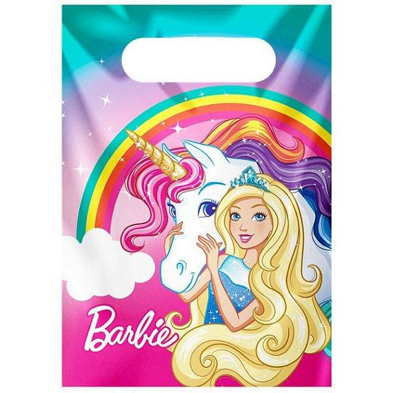 Barbie Unicorn Dreamtopia Party Plastic Loot Bags Birthday Party Kids .  Choose your quantity. Size a6c9b8644b