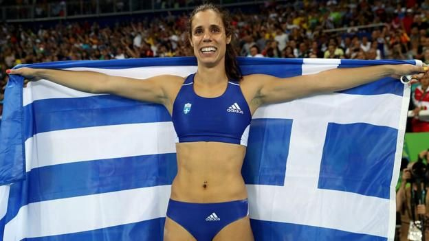 Greece's Ekaterini Stefanidi wins women's pole vault gold at Rio 2016 as Great Britain's Holly Bradshaw finishes fifth.