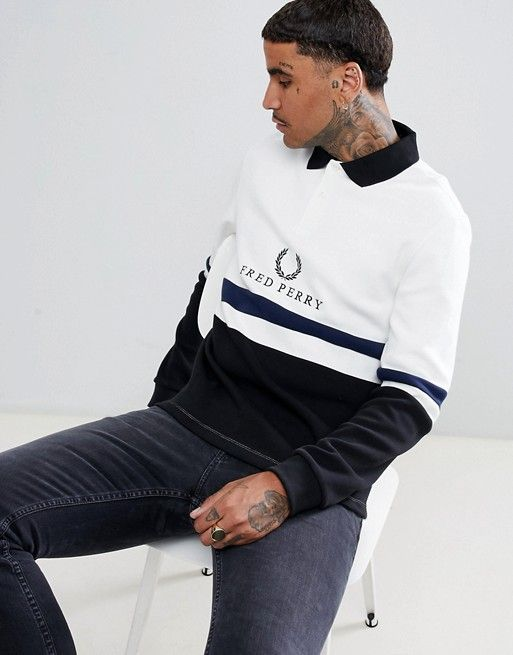 0f366a4dd Fred Perry Sports Authentic 90s logo rugby sweat in white | Fred ...