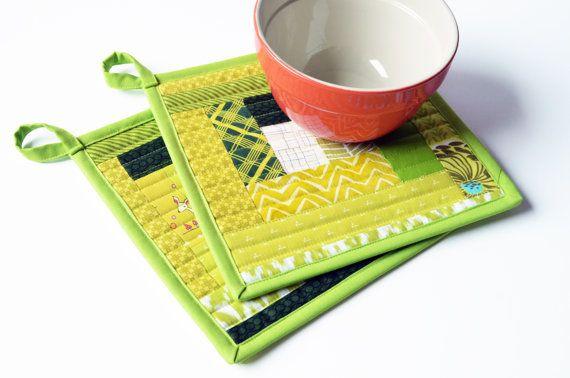 Modern Green Potholder Set Quilted Patchwork by sewandtellhandmade