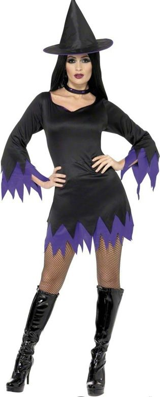 Witch Costume, Black and Purple, With Dress, Hat and Choker. Brilliant value for money simple witch costume! Just add a broom! £11.45. Halloween Fancy Dress. Halloween Party, Halloween Costume