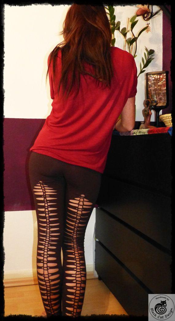 "Tribal Legging ""Fehu"" - handmade cut out Yoga Goa Festival Legginghs by Black Cat Design"