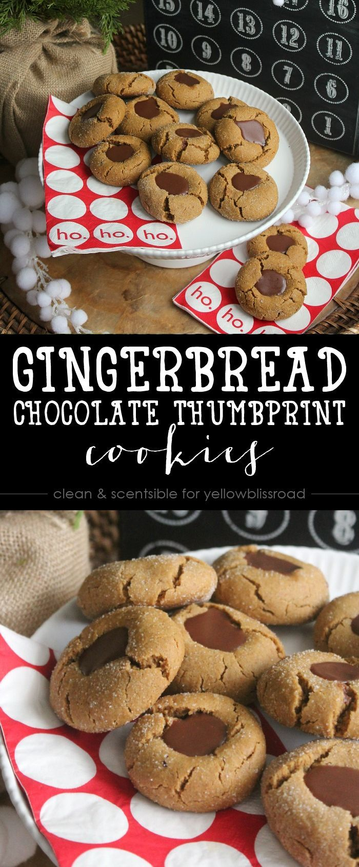 Gingerbread Chocolate Thumbprint Cookies