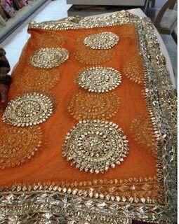 Gorgeous Indian Textile ~ Orange and Silver Beading