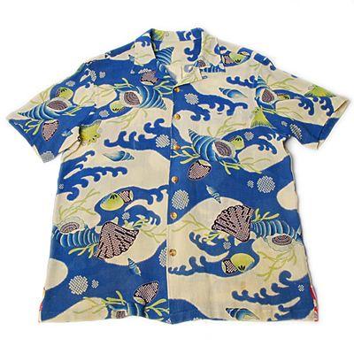 貝尽くし、ヴィンテージ縮緬のアロハシャツ - 着物アロハシャツの通販。ビンテージ着物や和柄の古布から仕立てた一点モノのアロハ。