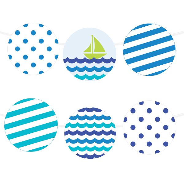 Free Printable Sea Waves Party Garland from printablepartydecor.com