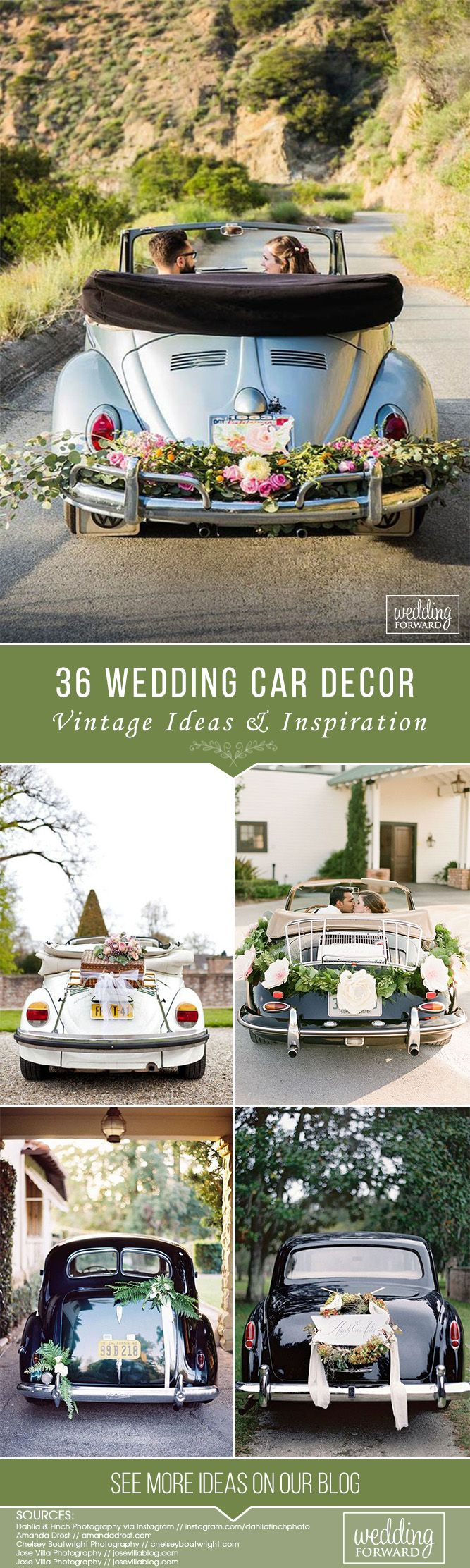 36 Vintage Wedding Car Decorations Ideas ❤  See more: http://www.weddingforward.com/wedding-car-decorations/ #wedding #bride #weddingdecor #weddingdecorations #weddingcardecorations