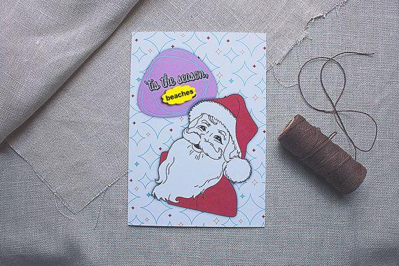 Christmas Tis The Season Btch Funny Santa Xmas Card by sylvannest, $6.00